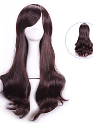 Women Dark Brown Wavy Curly Sexy Natual Realistic Wigs Cosplay Wigs Perruque Peruca Cheap Synthetic Hair Wigs Bangs