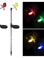 Pack of 2 Solar Fiber Optic Color-Changing Hummingbird Garden Stake Light Landscape Lighting Pathway Stairway