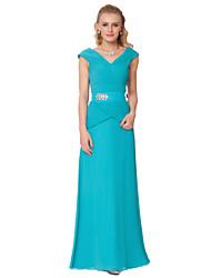 Formal Evening Dress - Blue/Green Ombre Sheath/Column V-neck Floor-length Chiffon