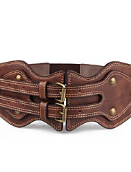 RICHCOCO® Women's Vintage Casual Style PU Strap with Antique Bronze Buckle Elastic Cord Belt