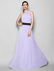 Lanting Bride Floor-length Georgette Bridesmaid Dress Sheath / Column One Shoulder Plus Size / Petite with Side Draping
