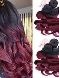 "3Pcs/Lot 10""-24"" Indian Virgin Hair Color 1B/99/J Body Wave Human Hair Weaves"