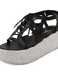 Women's Shoes Wedge Heel Wedges/Open Toe Sandals Casual Black/Silver
