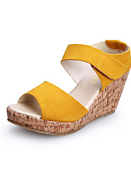 Women's Shoes  Wedge Heel Wedges/Heels/Platform/Comfort/Open Toe Sandals Casual Black/Yellow/Purple/Beige