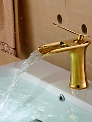 Modern Style Gold Single Handle Single Hole Hot and Cold Water Bathroom Sink Faucet