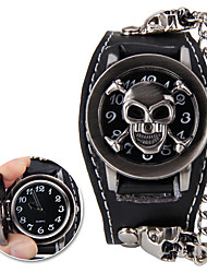 Classic Skull Shaped Heavy Metal Genuine Leather Rivet Watch(Black)(1Pc) Cool Watches Unique Watches Fashion Watch
