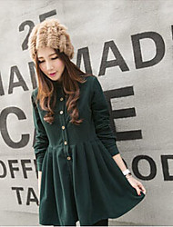 Women's Casual/Daily Vintage A Line Dress,Solid Shirt Collar Above Knee Long Sleeve Green Cashmere Spring