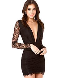 Women's Bodycon Deep V Long Sleeve Lace Dress