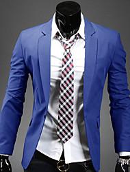 Herren Blazer-Einfarbig Büro / Formal Polyester / Baumwollmischung Lang Schwarz / Blau / Rot