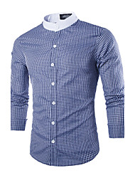 Men's Plaids Casual / Work Shirt,Polyester Long Sleeve Black / Blue