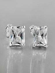 2015 Italy Style Silver Plated Square Design Stud Earrings for Lady