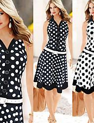 Nikki  Women's Vintage/Casual/Work Shirt Collar Sleeveless Dresses (Chiffon/Polyester)