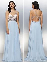 Homecoming Formal Evening Dress - Sky Blue A-line One Shoulder Floor-length Chiffon