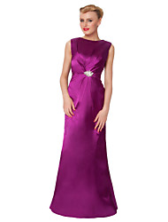 Sheath/Column Mother of the Bride Dress - Fuchsia Floor-length Satin / Silk