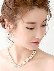 Rhinestones/Titanium Necklace With Earings