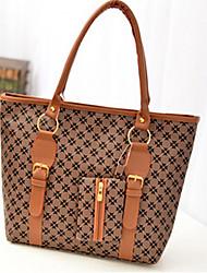 Frauen pvc Shopper Schultertasche - brown