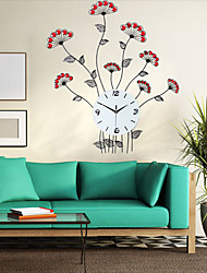Modern Style Creative Flowers Iron Dimond Mute Wall Clock