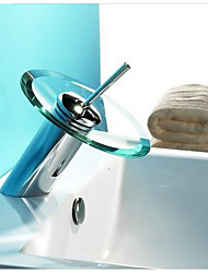 Bathroom Basin Mixer Tap Waterfall Faucet Sink Vessel Chrome Polished Finish Glass New