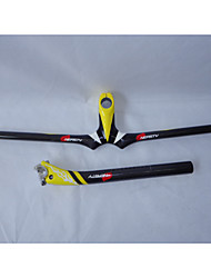 HB14+SP16 NEASTY Brand Yellow Decal Full Carbon Fiber Mtb Bicycle Parts Stem Handlebar and Seatpost 3k Weave