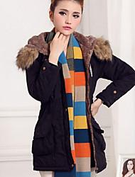 Women's Casual Long Sleeve Long Parka (Cotton Blends)