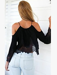 Women's Sexy Casual Lace Cute Plus Sizes Inelastic Long Sleeve Short Blouse (Chiffon/Lace)