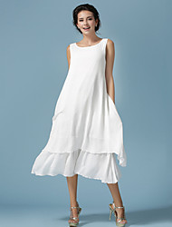 Women's Beach/Casual/Cute/Plus Sizes Elegant Loose Thin Sleeveless Midi Dress (Cotton/Linen)