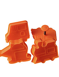 4PCS Little Car  Pattern Cake and Cookie Cutter Mold