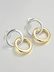 2015 Italy Style Silver Plated Circle Design Stud Earrings for Lady