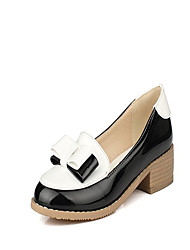 Women's Shoes Synthetic Low Heel Round Toe Loafers Office & Career/Casual Black/Red/White/Khaki