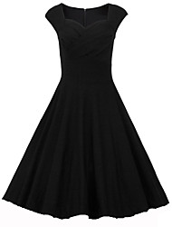 Damen Kleid - A-Linie Retro / Party Solide Knielang Baumwolle / Elasthan Sweetheart