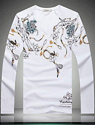 Men's long Sleeve T-shirt China's Fat yards butterfly flower new men's T-shirt fat men's long sleeve T-shirt