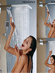 Contemporary Wall Mounted Thermostatic / Rain Shower / Handshower Included with  Brass Valve Two Handles Three Holes for  Chrome , Shower
