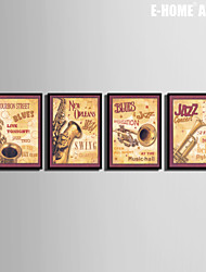 Instrumentos Musicales estilo que restaura maneras antiguas Decoración Framed Canvas Set de 4