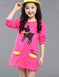 Girl's Winter/Spring/Fall Stretchy Medium Long Sleeve Dress (Cotton/Polyester)