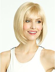 Nautral Short Bobo Blonde Wig With Full Bangs