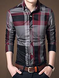 Men's Casual Checks Long Sleeve Business Shirt (Cotton)