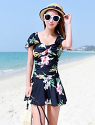 Women's Large Size Flowers Conjoined Skirt Type Swimsuit