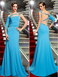 Military Ball / Formal Evening Dress - Pool Plus Sizes / Petite Trumpet/Mermaid One Shoulder Sweep/Brush Train Jersey