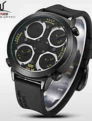 WEIDE Männer Universums Serie Sport drei Zeitzonen schwarzen Silikonband Quarz-Armbanduhr