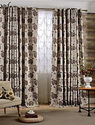 (One Panel) Double Pleated Classic Brown Big Flower Polyester And Linen Blend Jacquard Fabric Curtain Drapes
