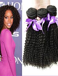 """3pcs / lot 8 """"-34"""" unverarbeitete 100% brasilianisches verworrenes lockiges reines Haar Einschlagfäden natürliche schwarze Jungfrau"""