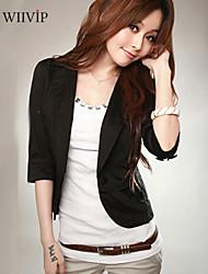 Women's Casual/Work/Plus Sizes Medium ¾ Sleeve Short Blazer (Cotton Blends)WP7E01