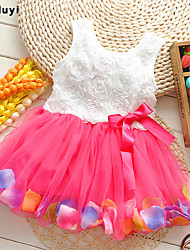 Girl's Green / Pink / Purple / Yellow Dress,Floral Cotton / Mesh Summer