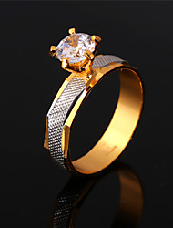 U7 New Luxury AAA+ Cubic Zirconia 18K Gold Platinum Plated 2 Tone Jewelry Ring for Women High Quality