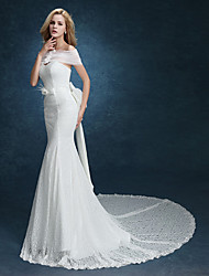 Trumpet/Mermaid Wedding Dress-White Sweep/Brush Train Sweetheart Lace