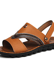 Men's Shoes Outdoor Leather Sandals Brown/Yellow
