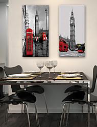 E-HOME® Stretched Canvas Art European Streets Decorative Painting Set of 2