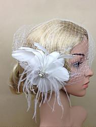 Women Feather/Net Bride White Flower Tassel Flowers/Birdcage Veils With Wedding/Party Headpiece