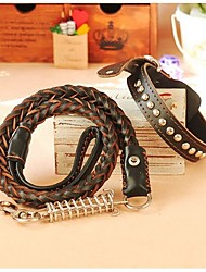 Defeng Dog Leash Dog Chain Large Dog Breed Leather Cowhide Traction Rope Collar(Ran dom Color)
