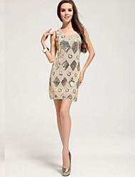 Women's Mesh Diamond Sequined Knee Length Casual Or Mini Evening Dress